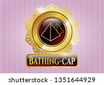 gold emblem with pyramids icon ... | Shutterstock .eps vector #1351644929
