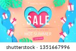 summer sale banner design with... | Shutterstock .eps vector #1351667996