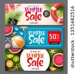 summer sale vector banner set.... | Shutterstock .eps vector #1351682516