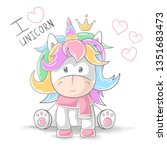 cute teddy unicorn   cartoon... | Shutterstock .eps vector #1351683473