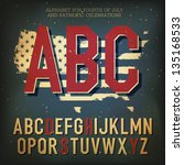 american themed alphabet. with... | Shutterstock .eps vector #135168533