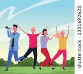 people dancing and having fun | Shutterstock .eps vector #1351692623