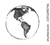 single black sketch globe... | Shutterstock . vector #1351698746