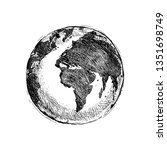 single black sketch globe... | Shutterstock . vector #1351698749