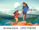 flat young woman and man couple ... | Shutterstock .eps vector #1351718336