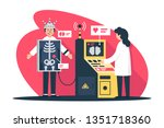 flat young man with radiologist ... | Shutterstock .eps vector #1351718360