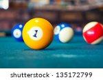 billiard balls a vintage style... | Shutterstock . vector #135172799