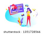 flat young girl with mobile... | Shutterstock .eps vector #1351728566