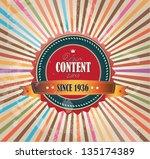 old vector round retro vintage...   Shutterstock .eps vector #135174389