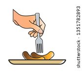 isolated sausage plate and hand ...   Shutterstock .eps vector #1351782893