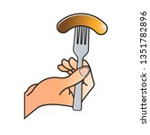 hand holding fork with sausage...   Shutterstock .eps vector #1351782896