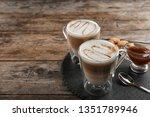 glass cups of caramel macchiato ... | Shutterstock . vector #1351789946