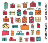 hand drawn gift boxes set... | Shutterstock .eps vector #1351825880