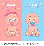baby boy and baby girl set ... | Shutterstock . vector #1351843193