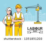 happy labour day | Shutterstock .eps vector #1351851203