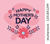 mothers day flowers | Shutterstock .eps vector #1351851299