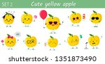 set of ten cute kawaii yellow... | Shutterstock .eps vector #1351873490
