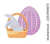 cute rabbit with basket wicker... | Shutterstock .eps vector #1351904873