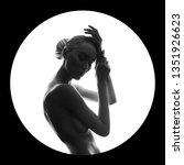 art beauty nude woman on black... | Shutterstock . vector #1351926623