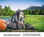 hiking equipment and camping... | Shutterstock . vector #1351933640