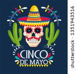 skull decoration with hat and... | Shutterstock .eps vector #1351943516
