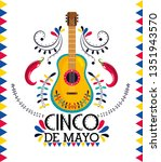 mexican guitar with chili... | Shutterstock .eps vector #1351943570