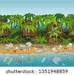 dirty beach cartoon vector... | Shutterstock .eps vector #1351948859