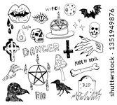 horror set of halloween doodle... | Shutterstock .eps vector #1351949876