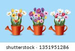 set flowers and roses plants... | Shutterstock .eps vector #1351951286