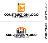 black orange line art building... | Shutterstock .eps vector #1351963310