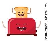 bread toaster cartoon | Shutterstock .eps vector #1351968296