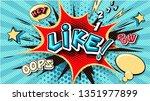 like. pop art cloud bubble.... | Shutterstock .eps vector #1351977899