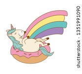 cute fairytale unicorn in donut ... | Shutterstock .eps vector #1351991090