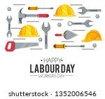 helmet equipment with hammer... | Shutterstock .eps vector #1352006546