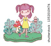 little girl in the landscape | Shutterstock .eps vector #1352010476