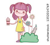 little girl in the landscape | Shutterstock .eps vector #1352014769