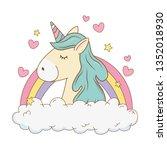 cute fairytale unicorn in... | Shutterstock .eps vector #1352018930