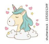 cute fairytale unicorn relax in ... | Shutterstock .eps vector #1352021249
