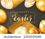 gold lettering happy easter... | Shutterstock . vector #1352029280