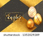lettering happy easter with... | Shutterstock . vector #1352029289