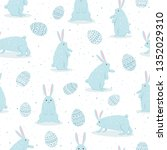 set of cute easter rabbits with ... | Shutterstock . vector #1352029310