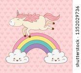 cute fairytale unicorn in... | Shutterstock .eps vector #1352029736