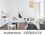 scandinavian studio apartment... | Shutterstock . vector #1352031173