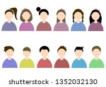 six girls and boys with... | Shutterstock .eps vector #1352032130