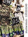 green asparagus on... | Shutterstock . vector #135203240