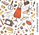 sewing seamless pattern. tools... | Shutterstock .eps vector #1352058146