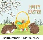 happy easter spring landscape... | Shutterstock .eps vector #1352076029