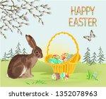 happy easter spring landscape... | Shutterstock .eps vector #1352078963
