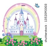 a fairy tale castle for a... | Shutterstock .eps vector #1352093303