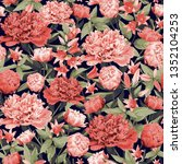seamless floral pattern with...   Shutterstock .eps vector #1352104253